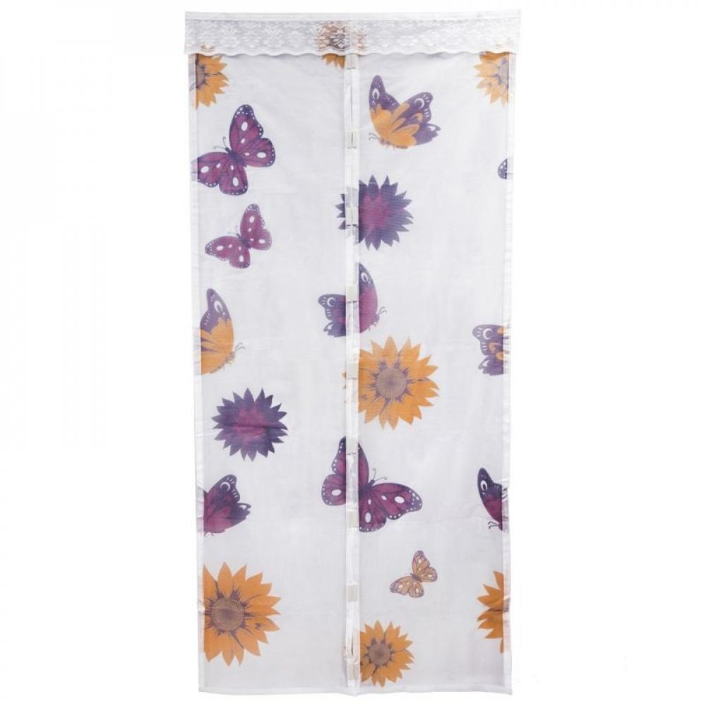 Купить Антимоскитная сетка на магнитах рыжий кот капутомоскито дизайн бабочки цвет белый 311255