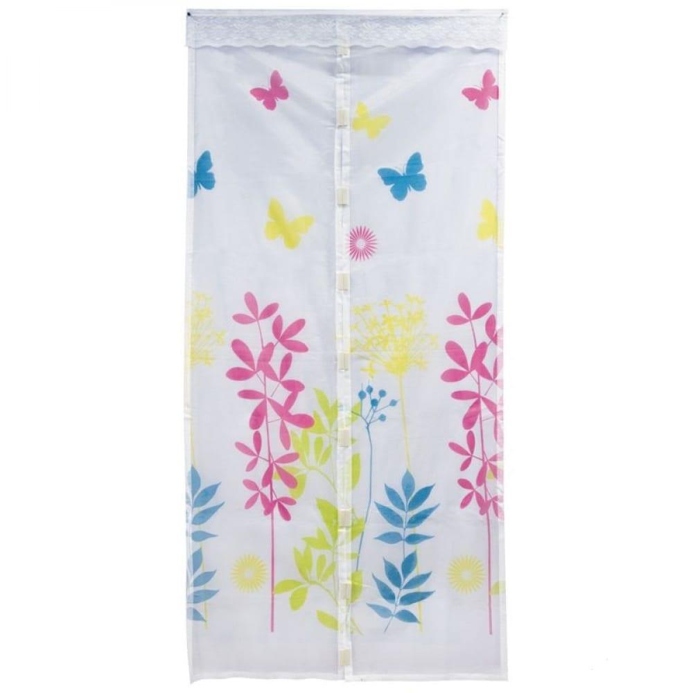 Купить Антимоскитная сетка на магнитах рыжий кот капутомоскито дизайн цветы, цвет белый 311256