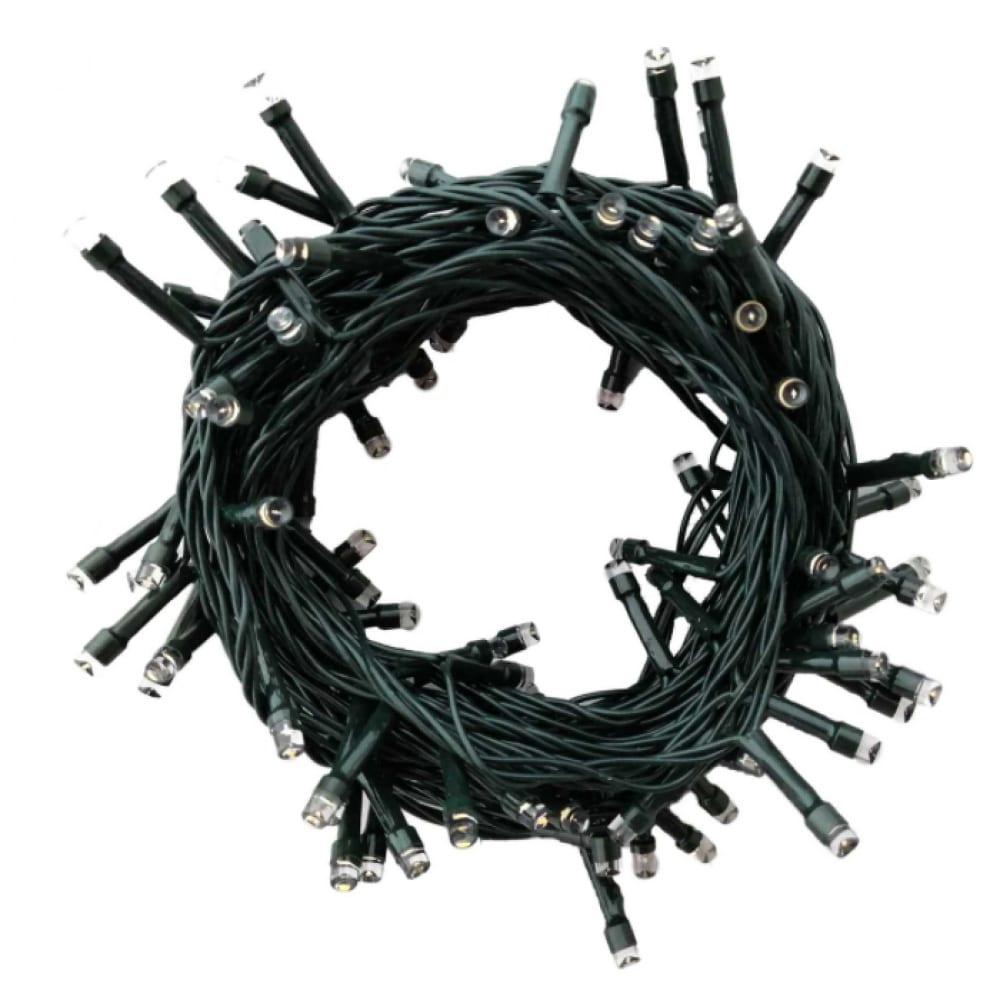 Купить Светодиодная гирлянда vilart 220в, 6вт, 450лм, 7м, 100 ламп, теплый белый, шнур зелёный. 15-82