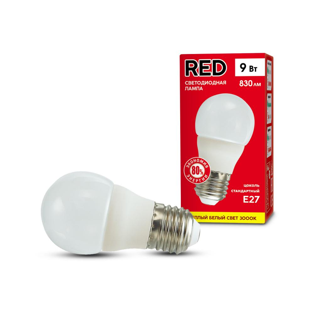 Купить Светодиодная лампа red p45 9w e27 3000k 800лм теплый белый свет шарик матовый 4606400206446