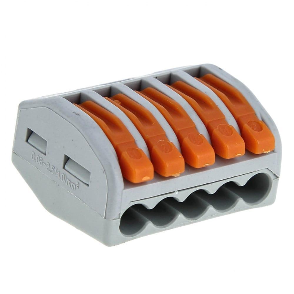 Строительно-монтажная клемма ekf смк 222-415 proxima, с рычагом, 5 отверстий, 0.08-2.5мм2 plc-smk-415r