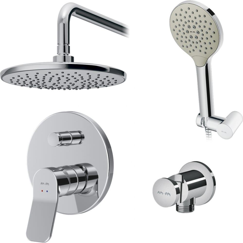 Купить Набор: смеситель для ванны/душа am.pm, x-joy верхний душ, с держателем, душевой набор fb85a1rh20
