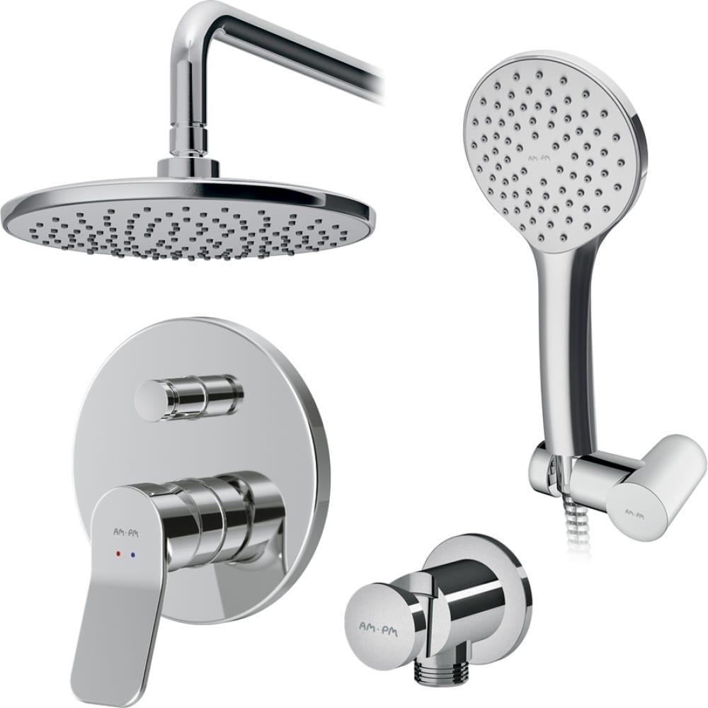 Купить Набор: смеситель для ванны/душа am.pm, x-joy верхний душ, с держателем, душевой набор fb85a1rh00