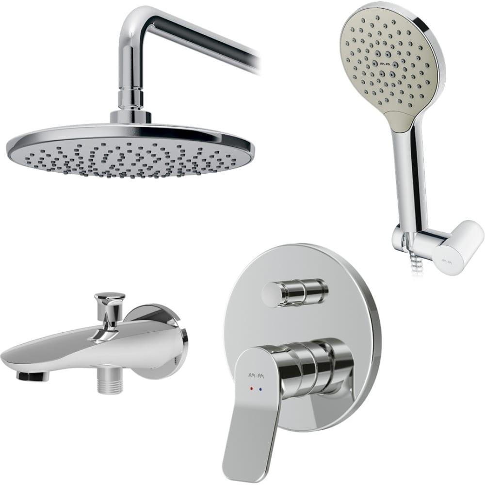 Купить Набор: смеситель для ванны/душа am.pm, x-joy верхний душ, с держателем, душевой набор, излив fb85a10020