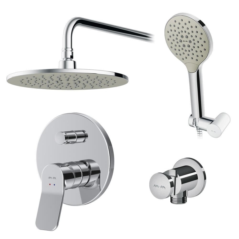 Купить Набор: смеситель для ванны/душа am.pm, x-joy верхний душ, с держателем, душевой набор fb85a1rh10
