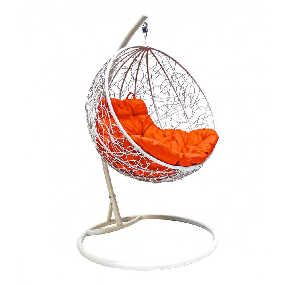 Купить Подвесное кресло m-group круг ротанг, белое, оранжевая подушка 7930095240704