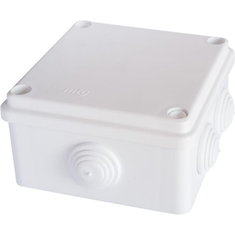 Распаячная влагозащищенная коробка mtg с 6 вводами настенная 100x100x50 с болтами ip65 31393