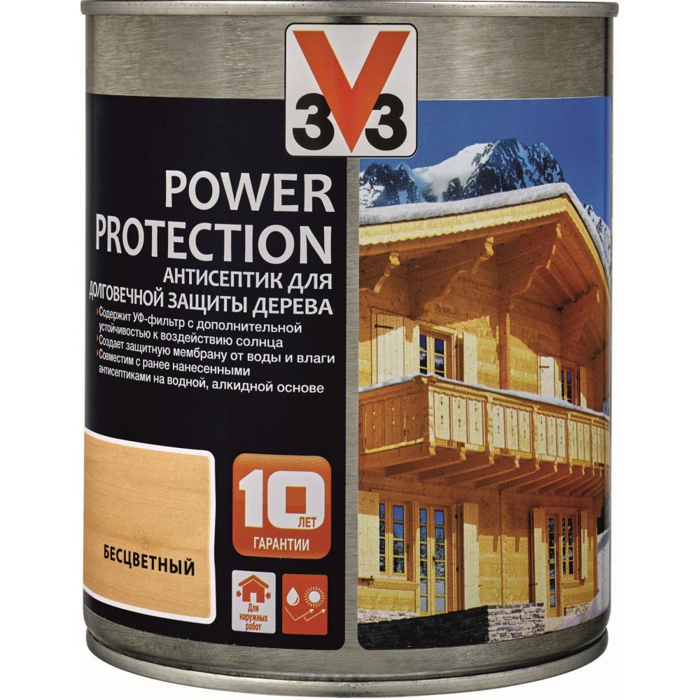 Купить Алкидный антисептик для дерева v33 power protection полуглянец, бесцветный 117386