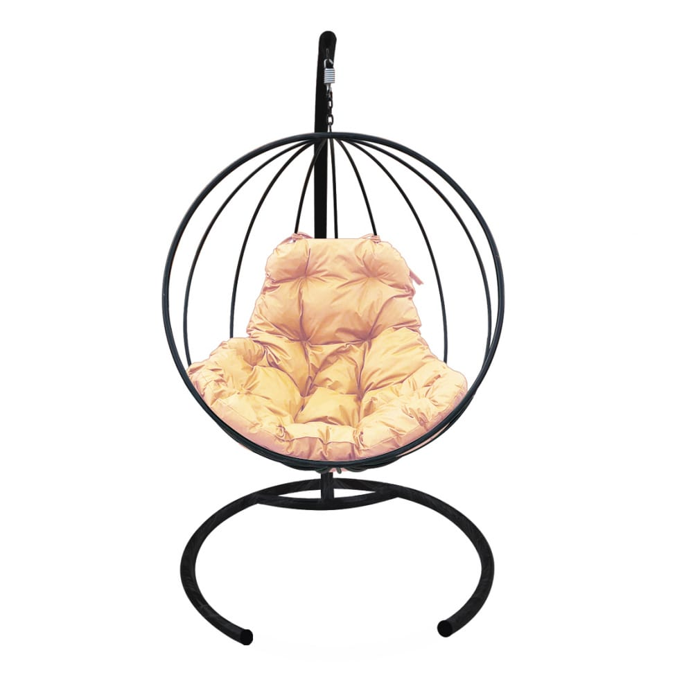 Картинка для Подвесное кресло m-group круг без ротанга, черное, бежевая подушка 7930095240940