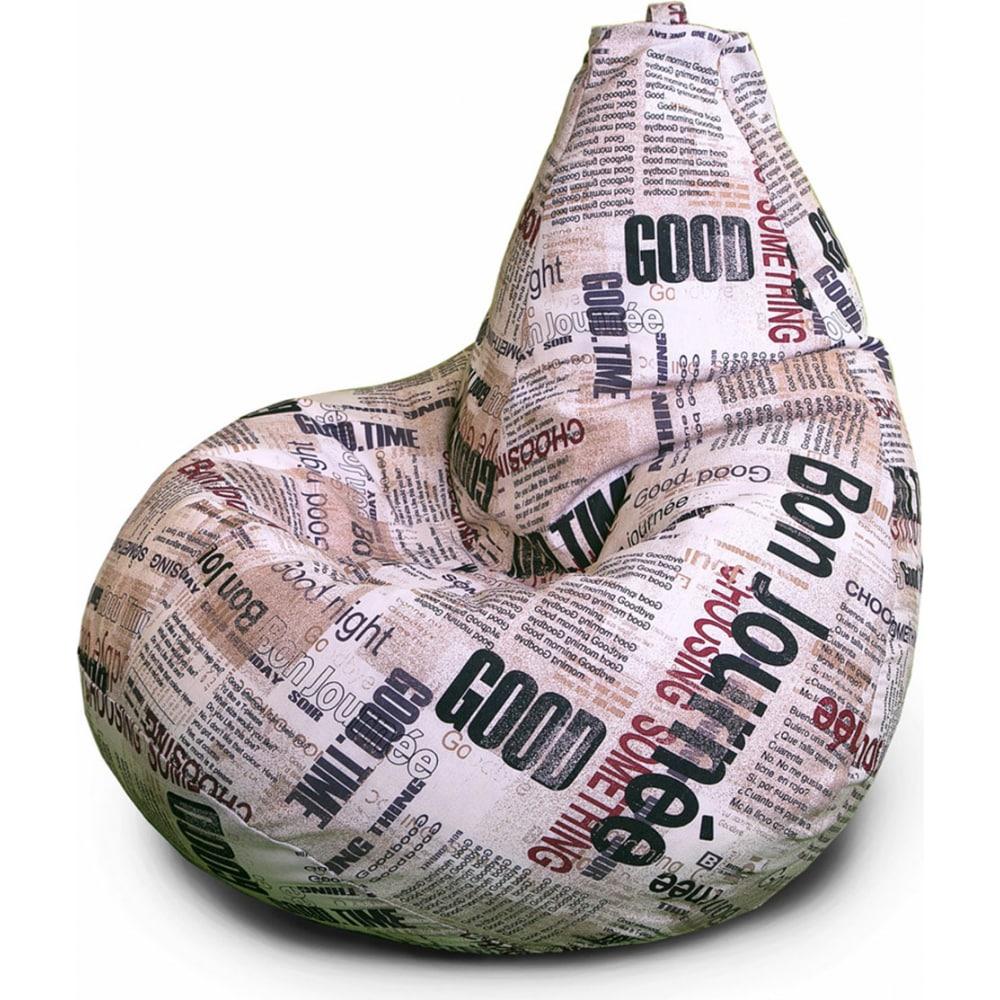 Купить Кресло-мешок mypuff груша, газета, размер стандарт, мебельный хлопок b_321
