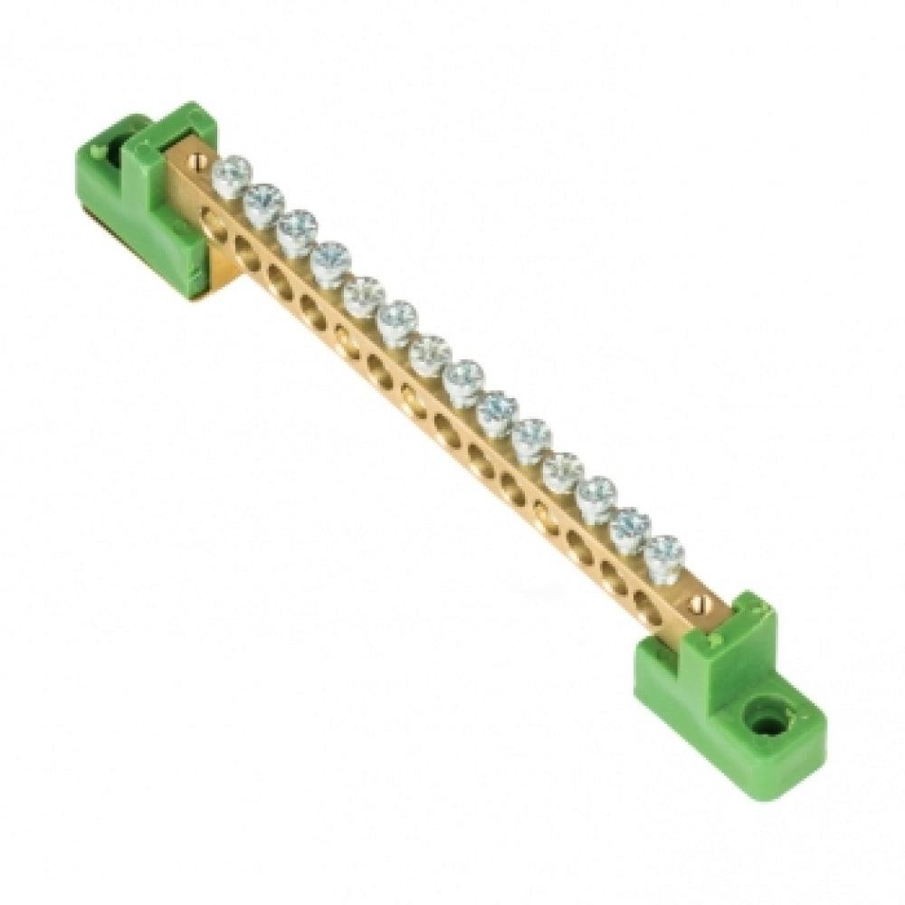 """Шина ekf """"0"""", pe, 6x9мм, 14 отверстий, латунь, с контактной пластиной, 2 зелёных угловых изолятора proxima sn0-63-14-2-pe"""