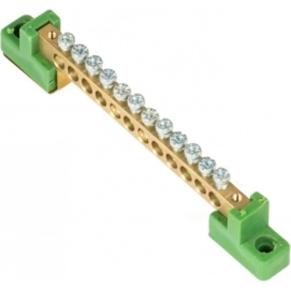 """Шина ekf """"0"""", pe, 6x9мм, 12 отверстий, латунь, с контактной пластиной, 2 зелёных угловых изолятора proxima sn0-63-12-2-pe"""