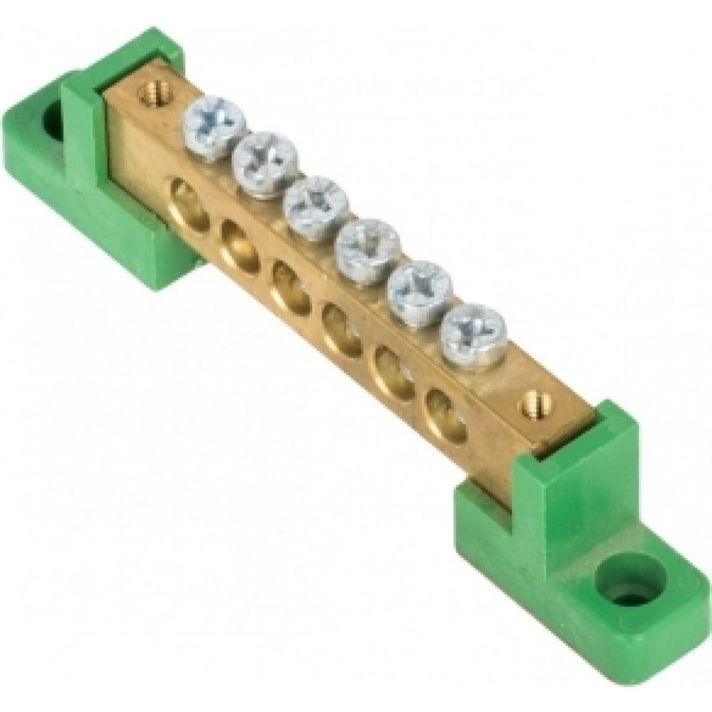 """Шина ekf """"0"""", pe, 8x12мм, 6 отверстий, латунь, с контактной пластиной, 2 зелёных угловых изолятора proxima sn0-125-06-2-pe"""