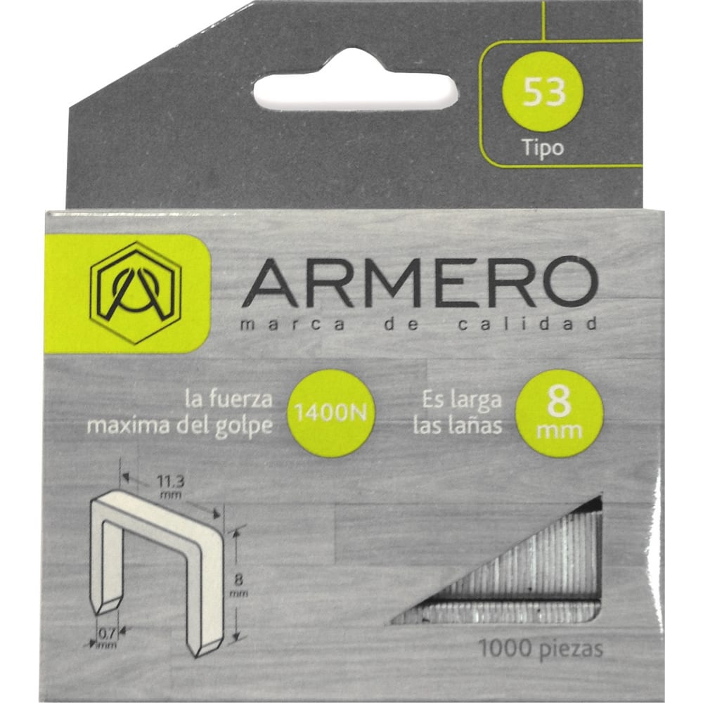 Скобы для степлера armero тип 53, 8мм, 1000 шт a312/007