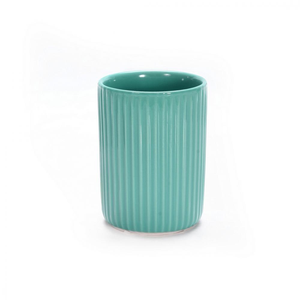 Купить Стакан для зубных щеток аквалиния плиссе бирюзовый, керамика ce1610b-tb