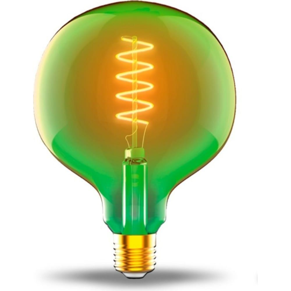 Купить Лампа gauss led filament flexible g125-c green e27 5w 190lm 1800k 125х178mm 1/10 1012802105