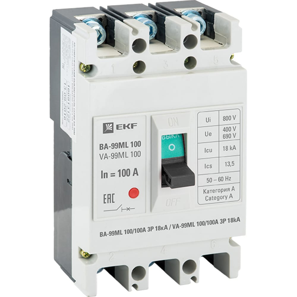 Автоматический выключатель ekf basic ва-99мl 100/100а, 3p, 18ка mccb99-100-100mi