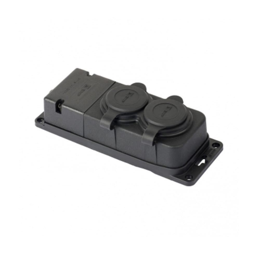 Двухместная розетка с защитными крышками ekf каучуковая, 230в, 2p+pe, 16a, ip44, pro rps-018-16-230-44-r