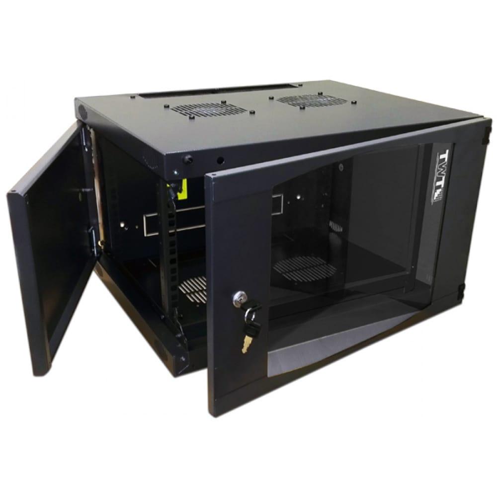 Купить Настенный шкаф twt next, 9u 550x450, стеклянная дверь, черный, 1 часть cbwng-9u-6x4-bk