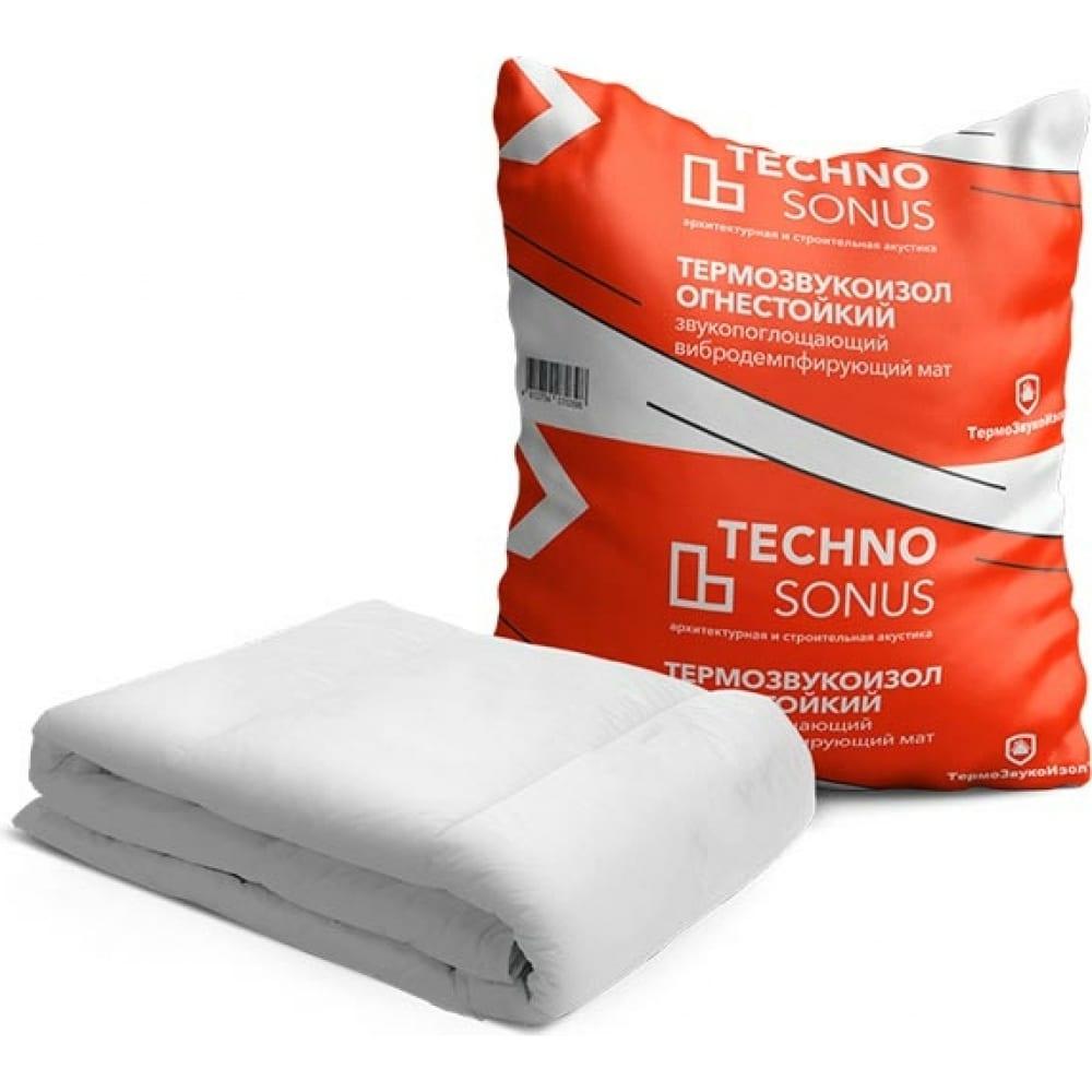 Мат для звукоизоляции термозвукоизол огнестойкий (5х1.5 м; 13 мм; 7.5 кв.м) техносонус 1300100004