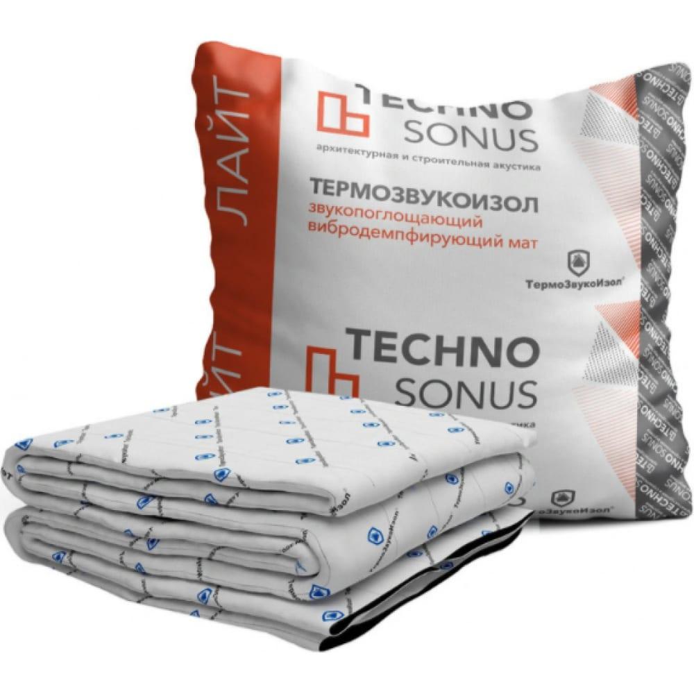 Мат для звукоизоляции термозвукоизол стандарт (10х1.5 м; 14 мм; 15 кв.м) техносонус 1300100006