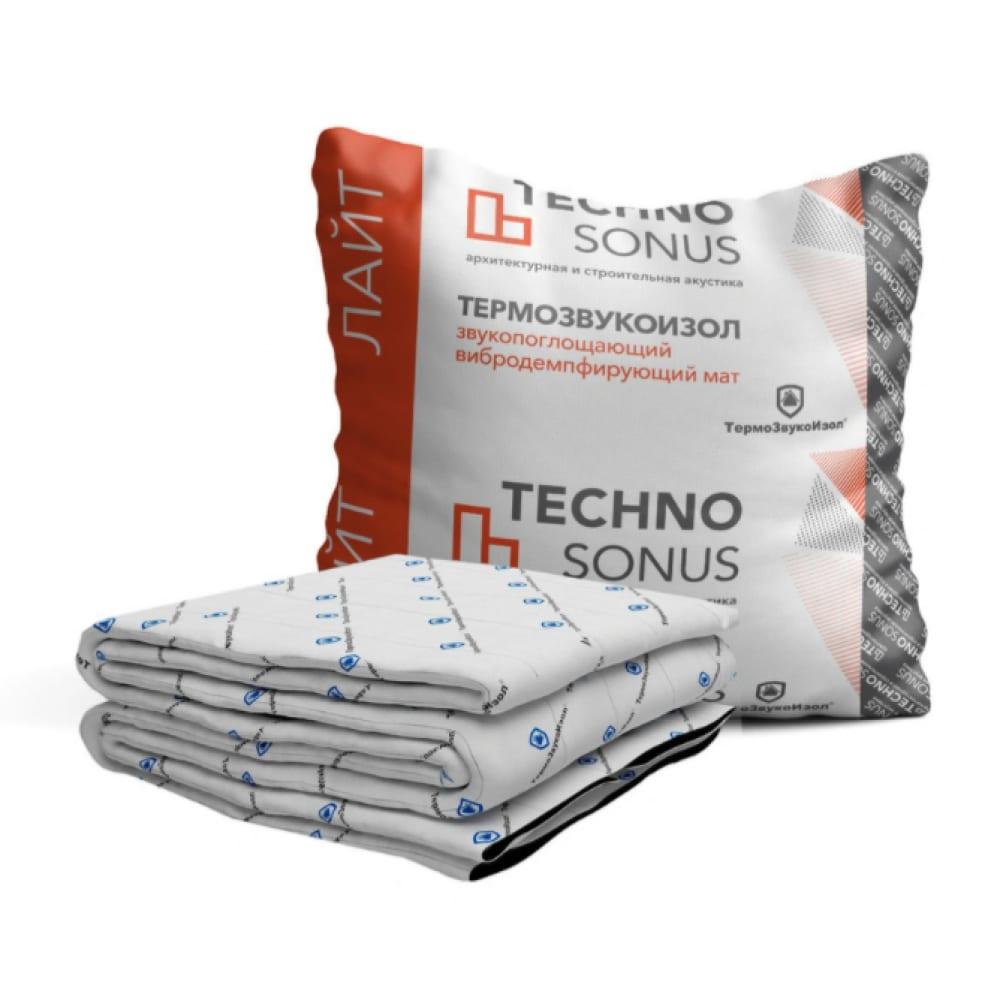Мат для звукоизоляции термозвукоизол лайт (10х1.5 м; 10 мм; 15 кв.м) техносонус 1300100007