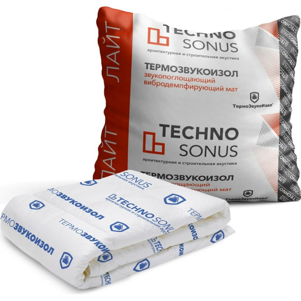 Купить Мат для звукоизоляции термозвукоизол лайт (10х1.5 м; 10 мм; 15 кв.м) техносонус 1300100007