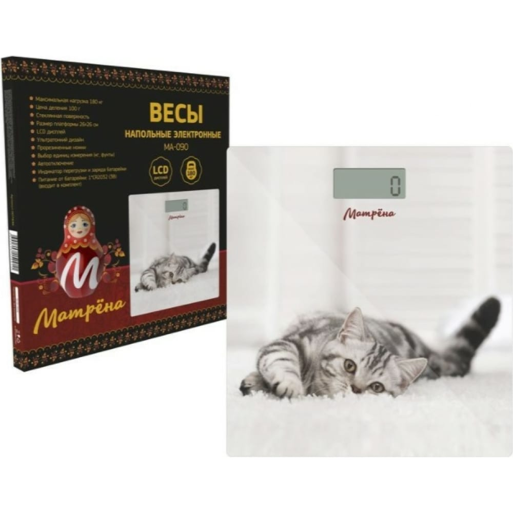 Напольные электронные весы матрёна ма-090 кот стеклянная поверхность, 180 кг 007271