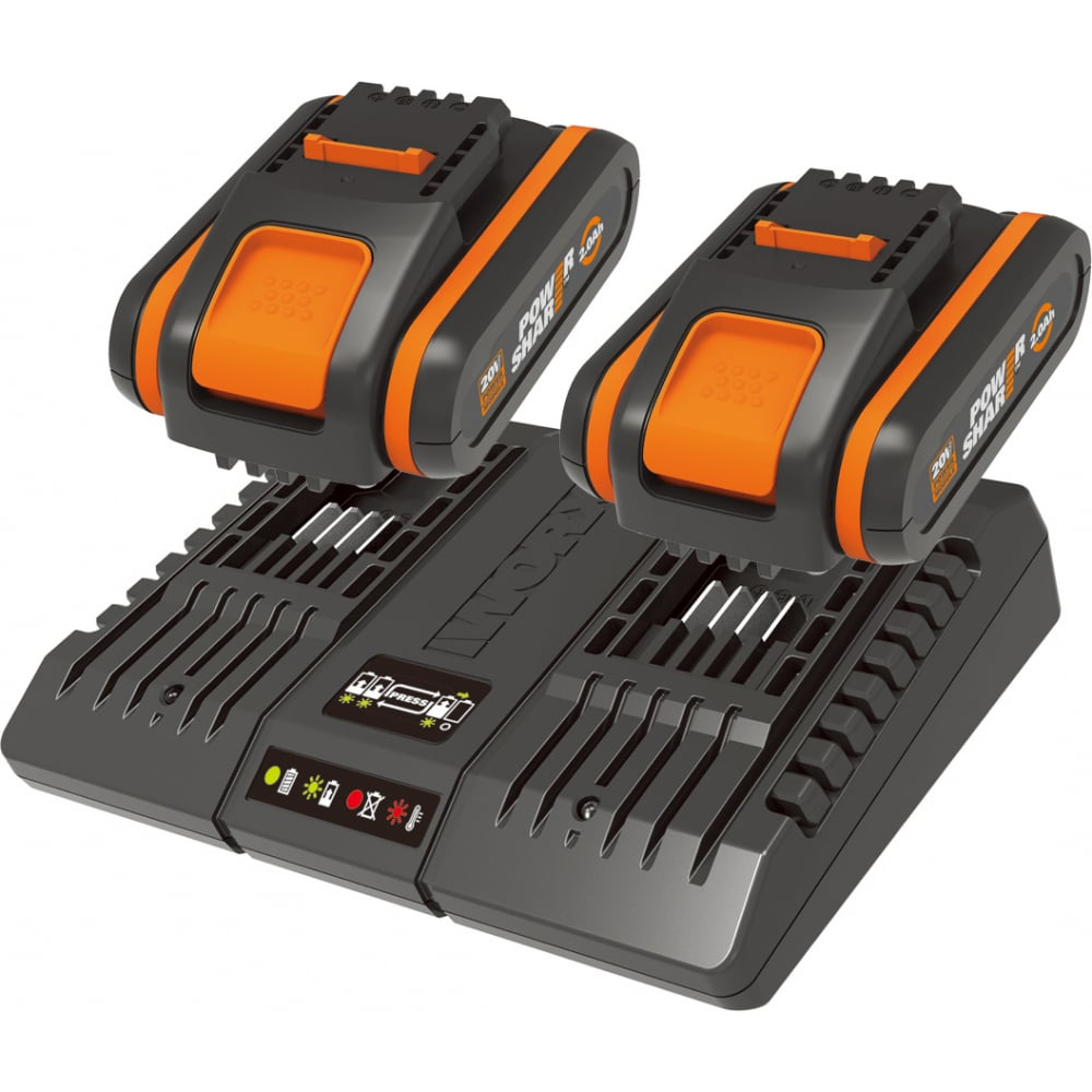 Аккумулятор (2 шт; 2.0 а/ч) с зарядным устройством wa3869 worx wa3610
