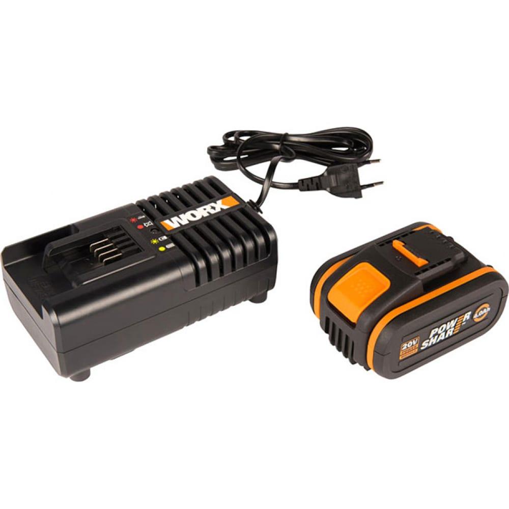 Комплект аккумулятор 4 ач с зарядным устройством на 2а worx wa3604