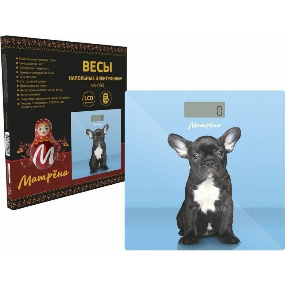 Напольные электронные весы матрёна ма-090 собака стеклянная поверхность, 180 кг 007296