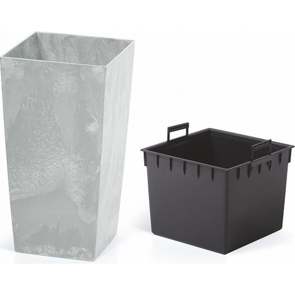 Кашпо для цветов prosperplast urbi square beton 11 и 26.6 л, бетон durs265e-422u