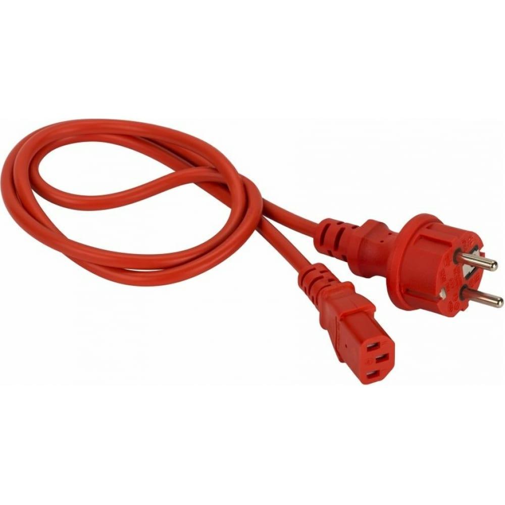 Шнур питания lanmaster c13-schuko, 3х0.75, 220в, 10а, красный, 2 метра lan-pp13/sh-2.0-rd