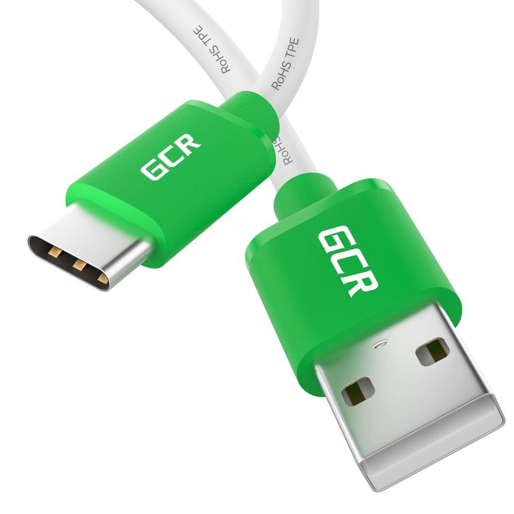 Кабель typec gcr 1.5m быстрая зарядка, белый tpe, зеленые коннекторы viv52i721