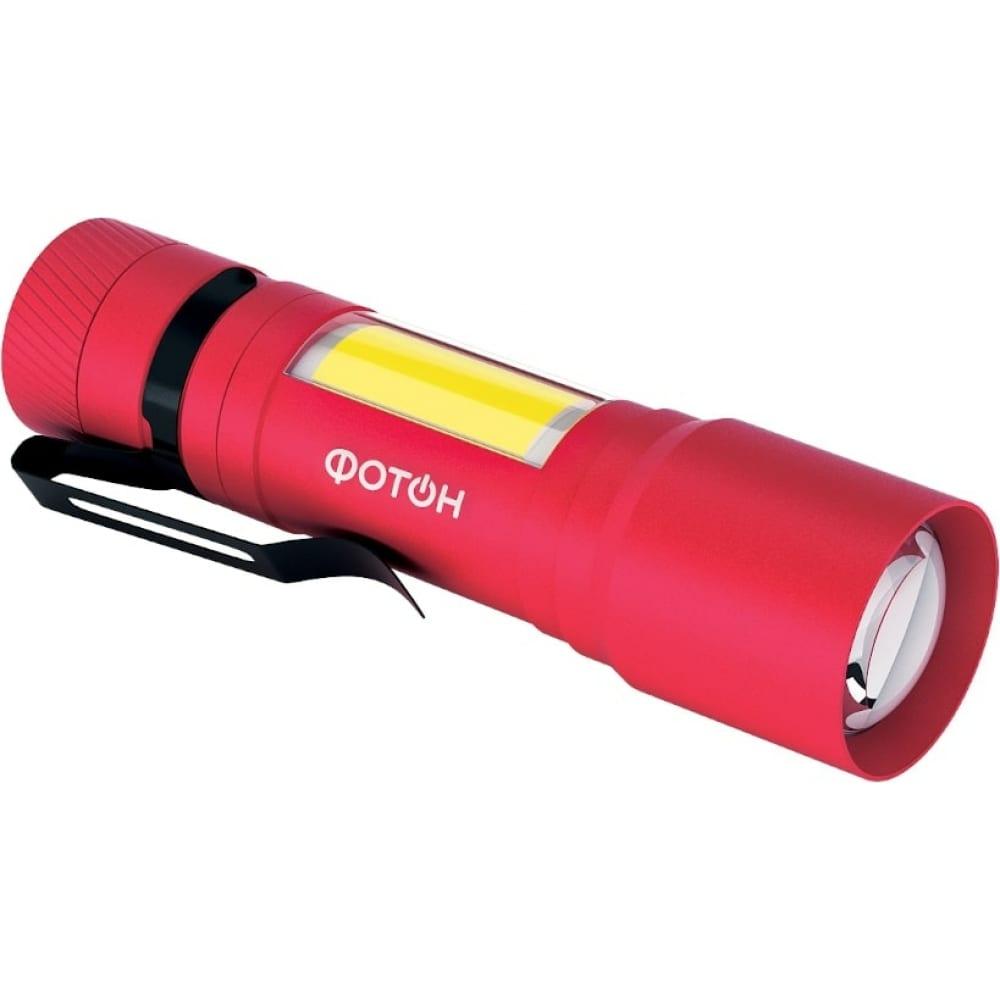 Туристический светодиодный фонарь фотон ms-600, 1w+1w, 1хlr6 в комплекте, красный 23838