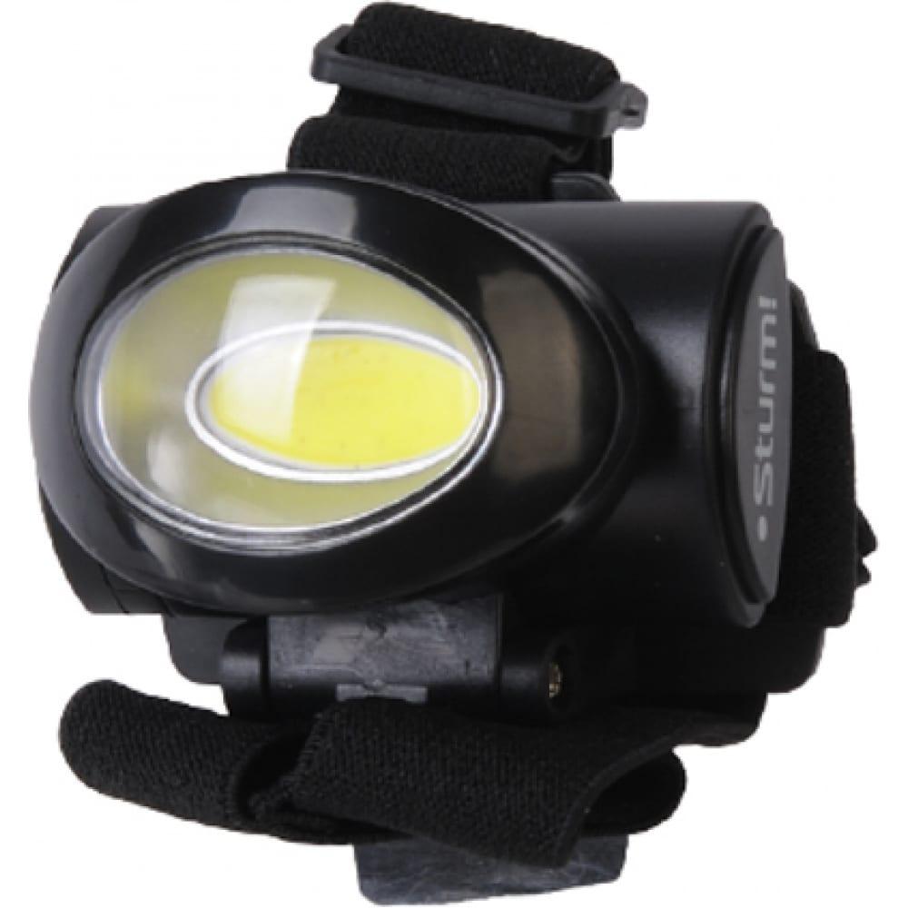 Налобный фонарь sturm cob светодиод, 3 режима, 140лм 4051-02-140