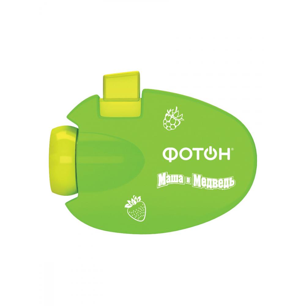 Мультфонарик-проектор фотон кр-0903-2, маша и медведь, зеленый 23319