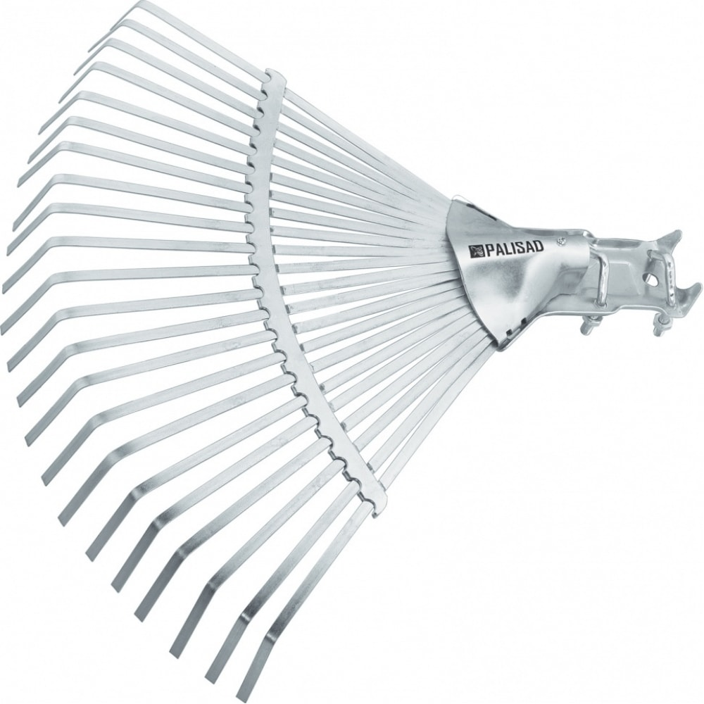 Веерные стальные грабли palisad 450 мм, 22 плоских зуба, регулируемая тулейка, без черенка 617025