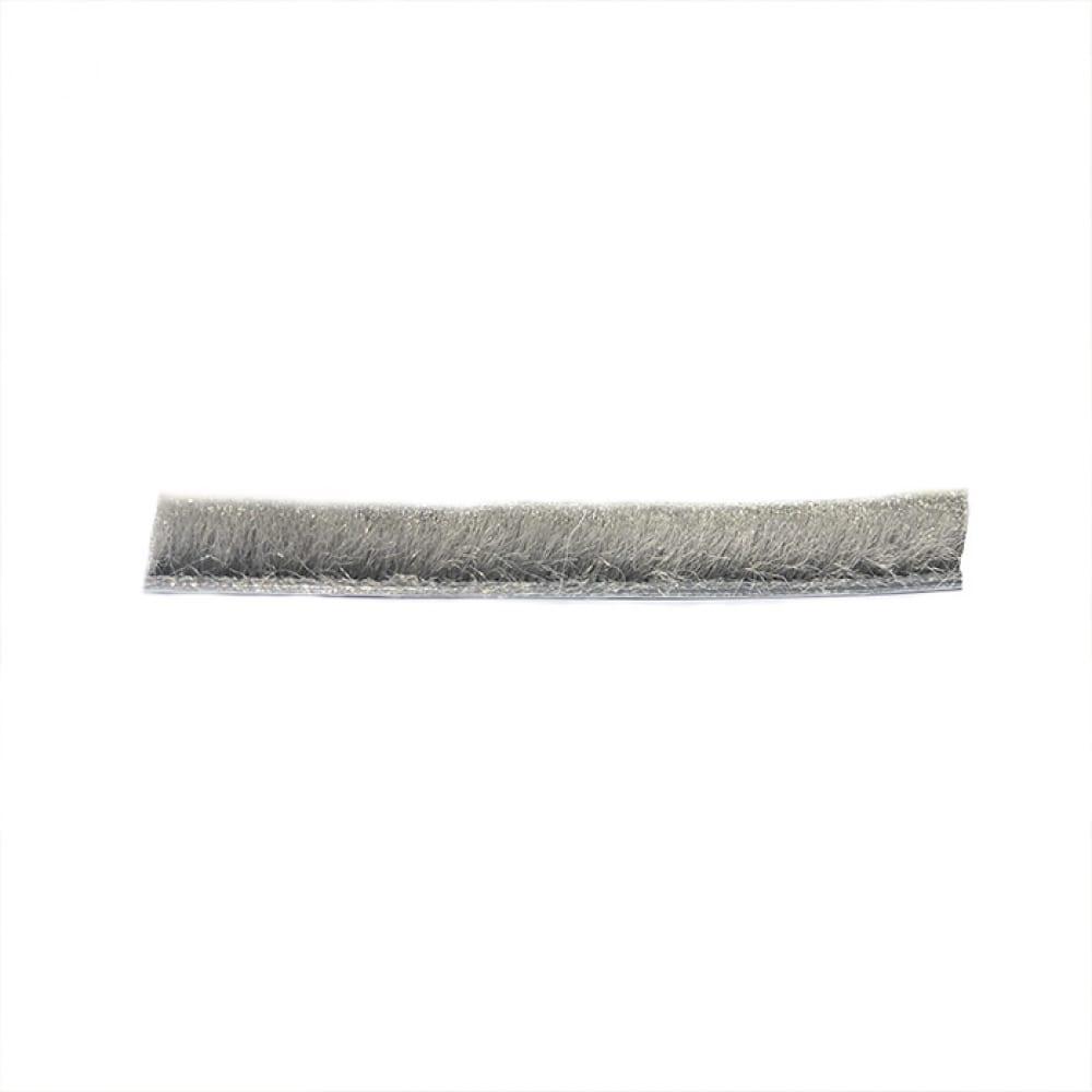 Щеточный уплотнитель mebax 7х6 серый, в пакете, на пленке, 6м 00-00001425