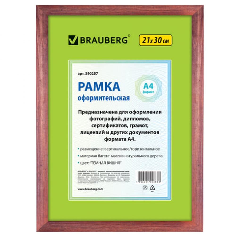 Купить Рамка brauberg hit, 21х30 см, дерево, багет 18 мм, темная вишня, стекло, 390257