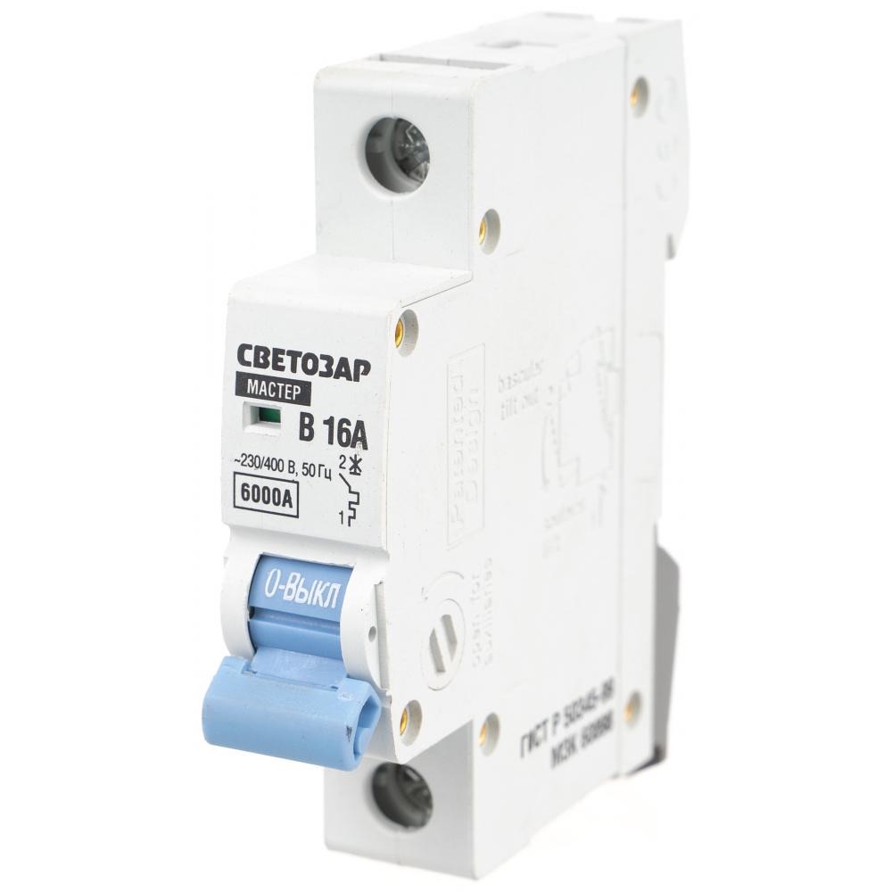 """Автоматический выключатель светозар 1п, 16 a, """"b"""", 6 ка, 230/400 в sv-49051-16-b"""