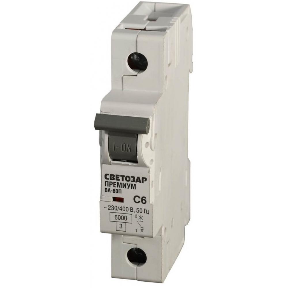 Автоматический выключатель светозар премиум 1-полюсный, 6 a, c, откл. сп. 10 ка, 230 / 400 в sv-49031-06-c