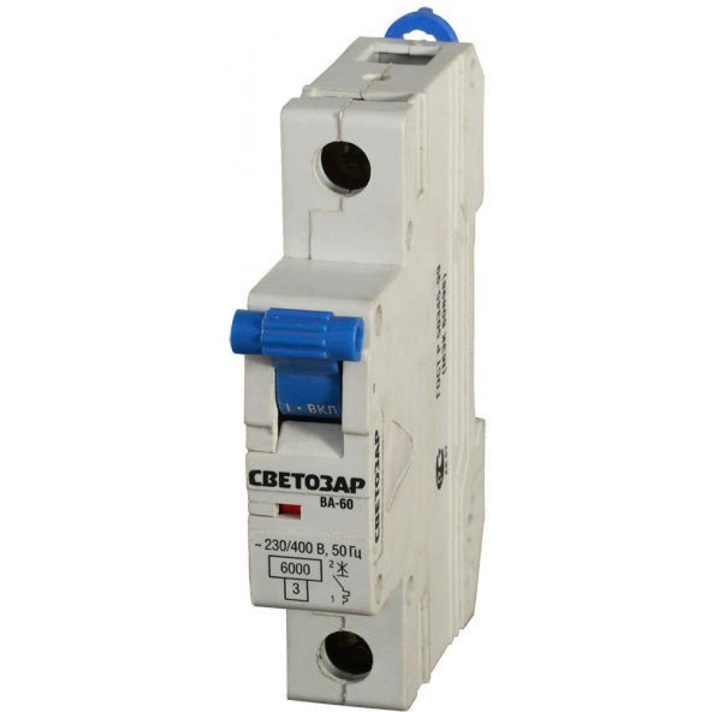 Автоматический выключатель светозар 1п, 10 a, c, 6 ка, 230/400 в sv-49061-10-cАвтоматические выключатели<br>Вес: 0.12 кг;<br>Тип: модульный ;<br>Номинальный ток: 10 А;<br>Отключающая способность: 6 кА;<br>Тип расцепления: С ;<br>Вид: автоматический выключатель ;<br>Номинальное напряжение: 230/400 В;<br>Серия: Мастер ;<br>Количество полюсов: 1 ;