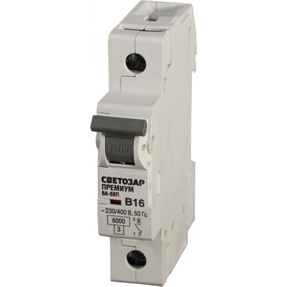 Автоматический выключатель светозар премиум 1п, 40 a, b, 6 ка, 230/400 в sv-49011-40-bАвтоматические выключатели<br>Вес: 0.11 кг;<br>Тип: модульный ;<br>Номинальный ток: 40 А;<br>Отключающая способность: 6 кА;<br>Тип расцепления: В ;<br>Вид: автоматический выключатель ;<br>Номинальное напряжение: 230/400 В;<br>Серия: Премиум ;<br>Количество полюсов: 1 ;