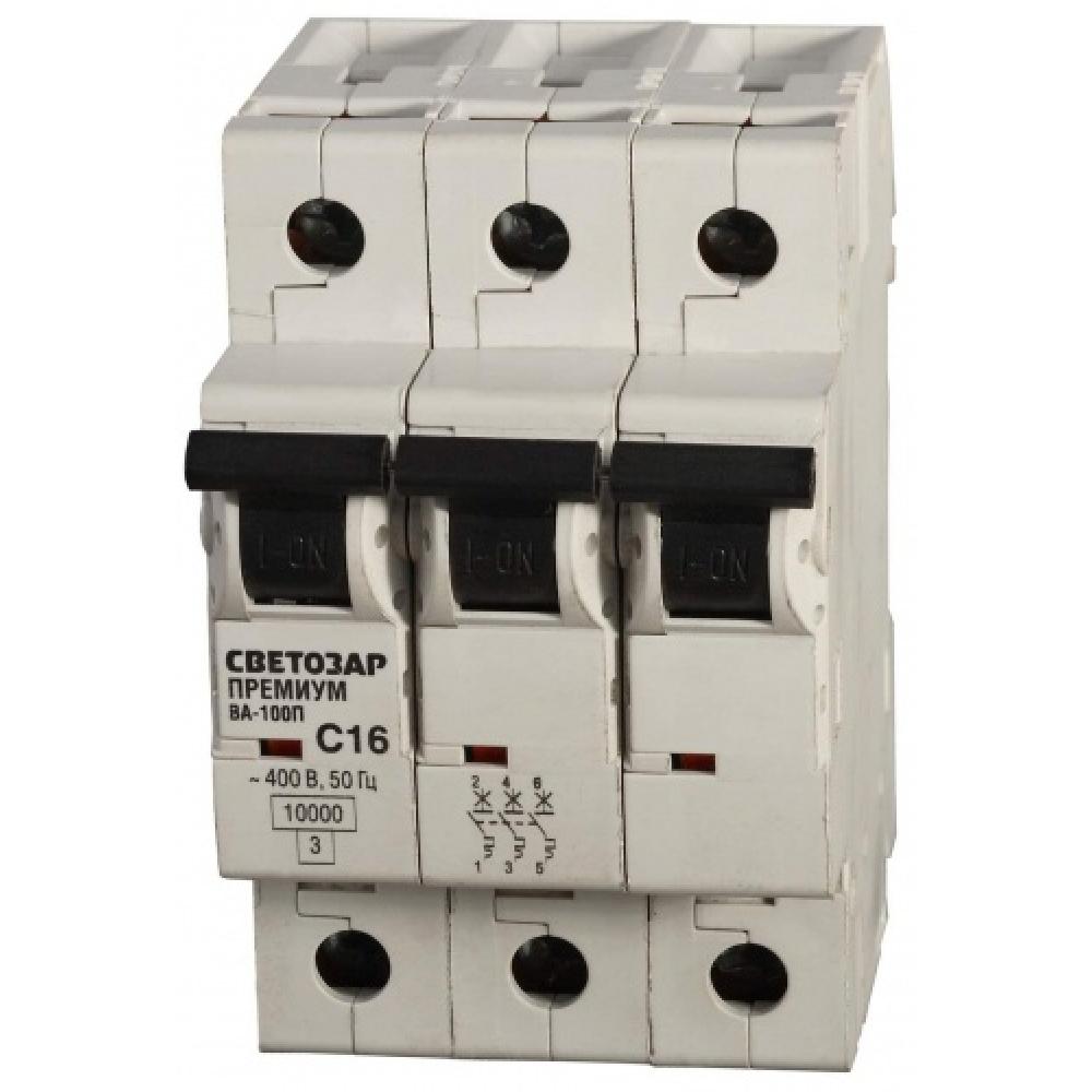 Автоматический выключатель светозар премиум 3п, 63a, b, 6ка, 400в sv-49013-63-bАвтоматические выключатели<br>Вес: 0.31 кг;<br>Тип: модульный ;<br>Номинальный ток: 63 А;<br>Отключающая способность: 6 кА;<br>Тип расцепления: В ;<br>Вид: автоматический выключатель ;<br>Номинальное напряжение: 400 В;<br>Серия: Премиум ;<br>Количество полюсов: 3 ;