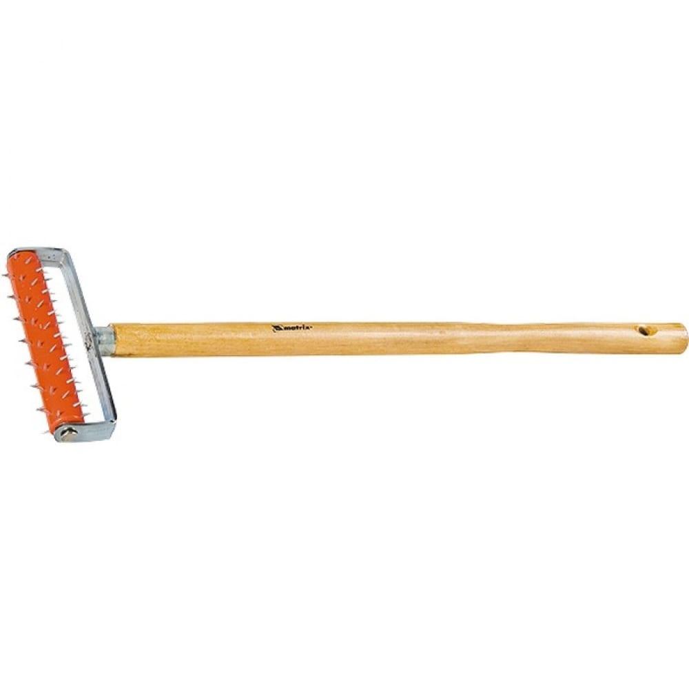 Игольчатый валик для гипсокартона, деревянная ручка matrix master, 87901, 150 мм