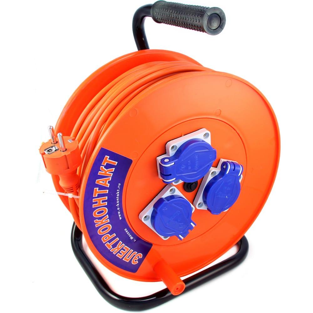 Силовой удлинитель на катушке, электроконтакт ухз16-003, 4600002101956, 50м, 3 розетки