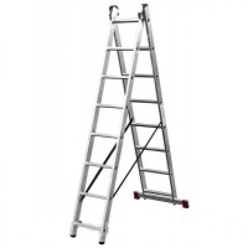 Двухсекционная алюминиевая лестница алюмет серия р2 9218двухсекционные лестницы<br>Вес: 32.22 кг;<br>Габариты: 9480х392 мм;<br>Материал: алюминий  ;<br>Общая длина: 9.48 м;<br>Тип: двухсекционная ;<br>Max длина: 9.78 м;<br>Количество ступеней: 2х18 шт.;<br>Стремянка: есть ;