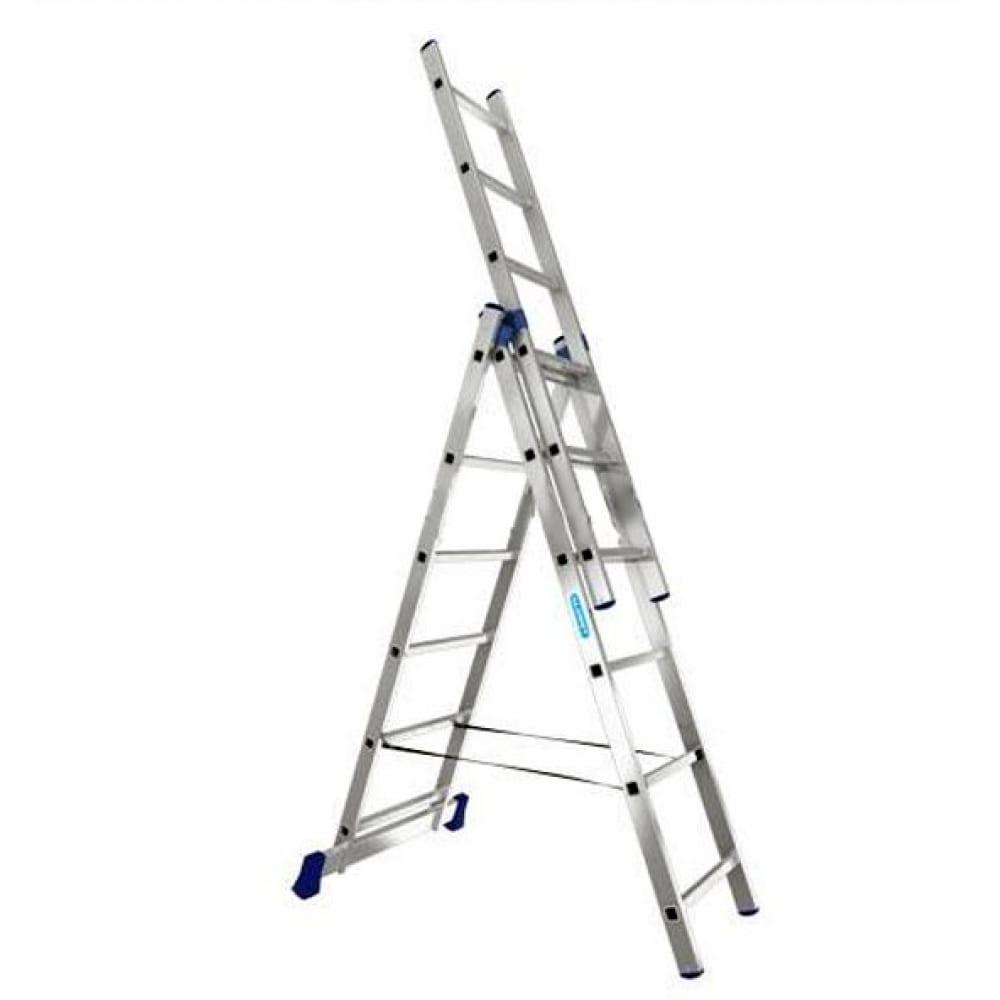 Трехсекционная универсальная алюминиевая лестница алюмет серия h3 5307трехсекционные лестницы<br>Вес: 8.9 кг;<br>Габариты: 1960х445 мм;<br>Материал: алюминий  ;<br>Общая длина: 3.93 м;<br>Тип: трехсекционная ;<br>Толщина профиля: 1.2 мм;<br>Max рабочая нагрузка: 150 кг;<br>Max длина: 3930 м;<br>Min длина: 1960 м;<br>Количество ступеней: 3х7 шт;<br>Регулировка опоры угловой траверсы: нет ;