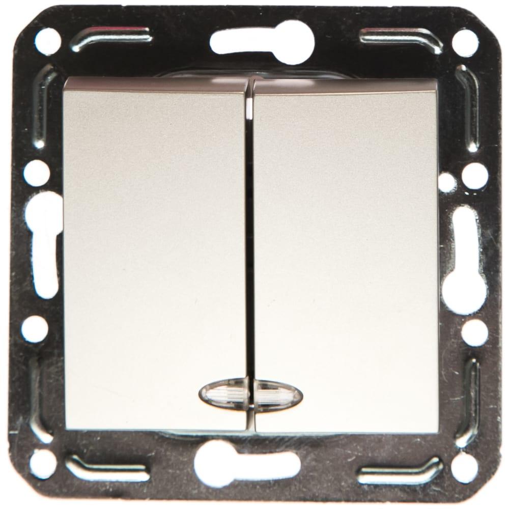 Двухклавишный выключатель volsten v01-15-v22-m, magenta argento, 10029